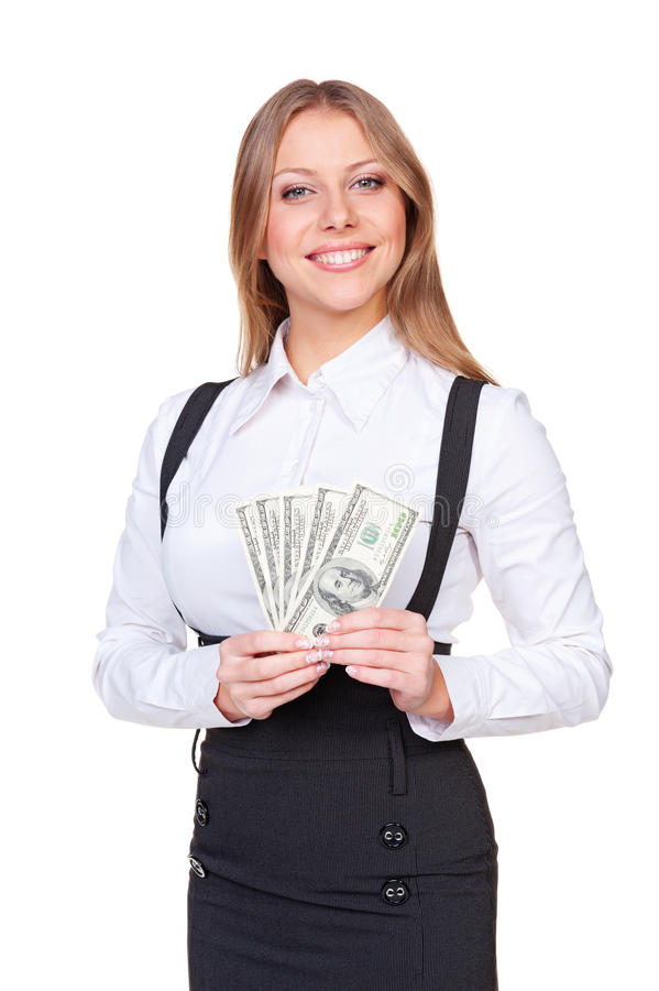 Alluring Woman Holding American Dollars Royalty Free Stock Photo