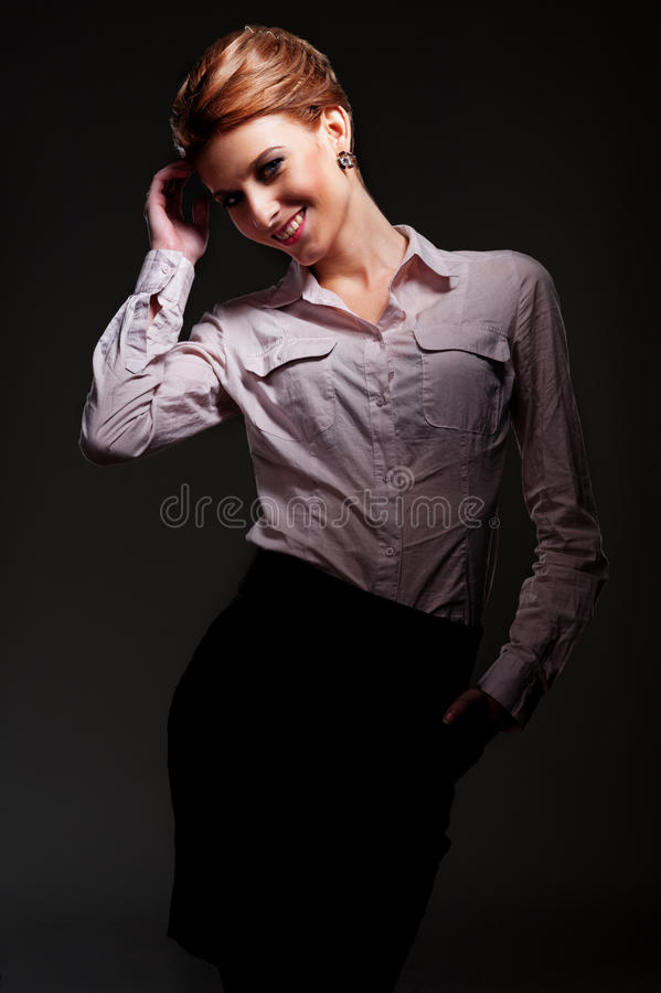 Download Alluring Woman Posing Over Dark Background Stock Image - Image of style, attractive: 27914697