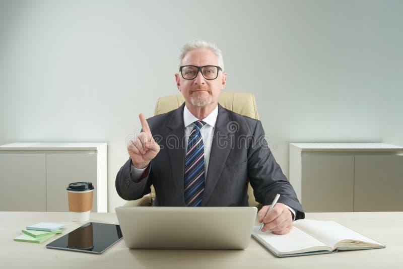 Allvarlig åldrig entreprenör Posing för fotografi arkivfoto