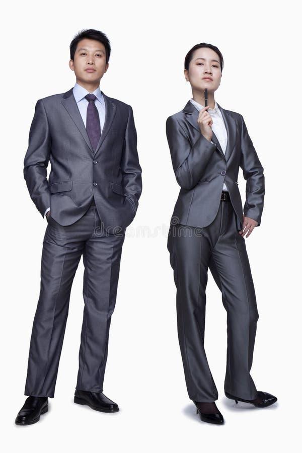 Allvarlig affärsman och affärskvinna, stående, studioskott royaltyfri fotografi