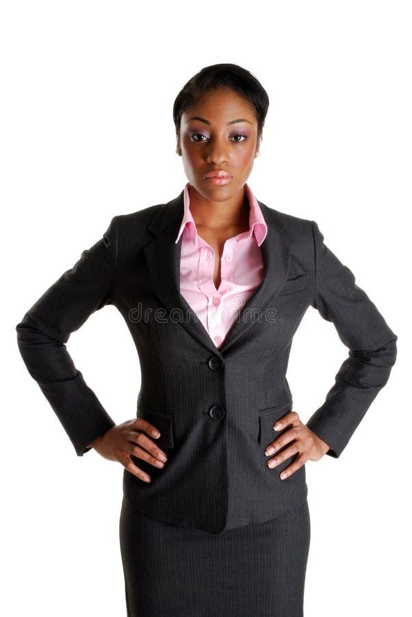 allvarlig barsk kvinna för affär arkivbild