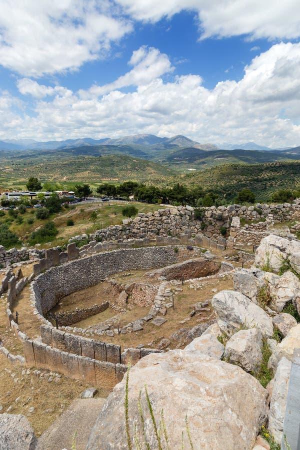 Allvarlig cirkel A i Mycenae, Peloponnese, Grekland royaltyfria foton