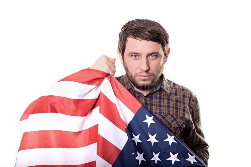 Allvarlig Förenta staterna för manpatriotland med en säker blick royaltyfria foton
