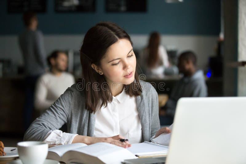 Allvarlig intelligent millennial flicka som studerar i kafét som förbereder f arkivfoto