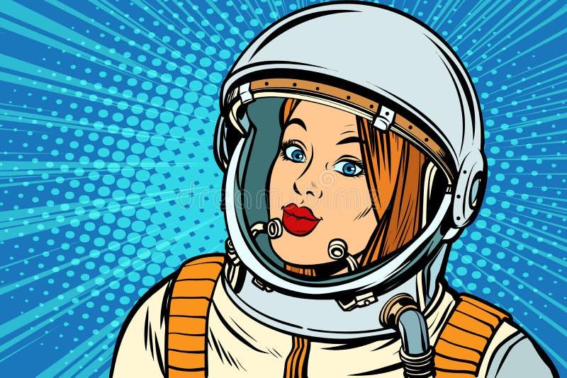 Allvarlig kvinnaastronaut vektor illustrationer