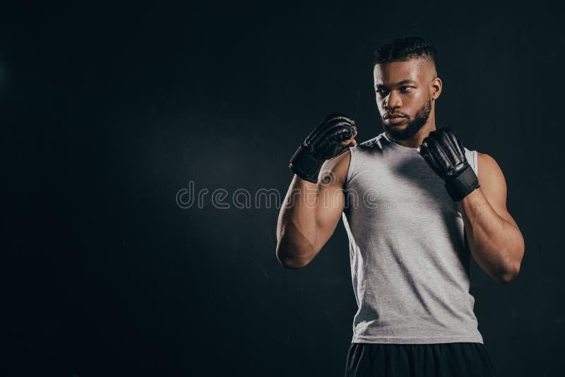 allvarlig muskulös ung afrikansk amerikanidrottsman, i handskeutbildning royaltyfri foto