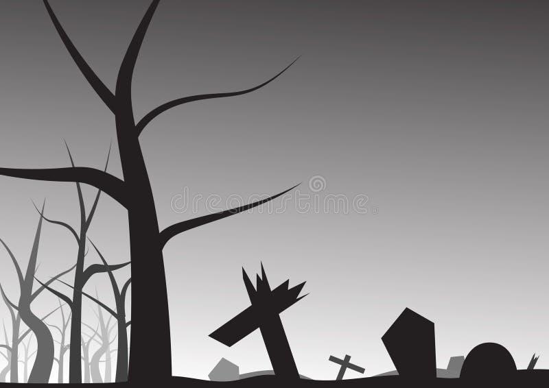 Allvarlig och avlövad trädhalloween bakgrund stock illustrationer