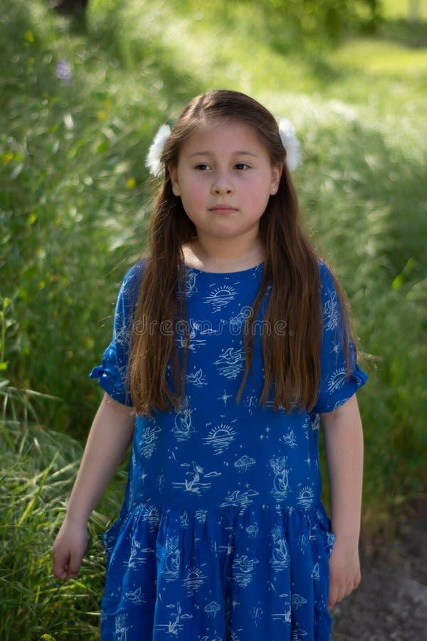 Allvarlig och fundersam liten flicka i den bl?a kl?nningen som ?r fr?mst av guld- f?lt p? Park royaltyfria foton