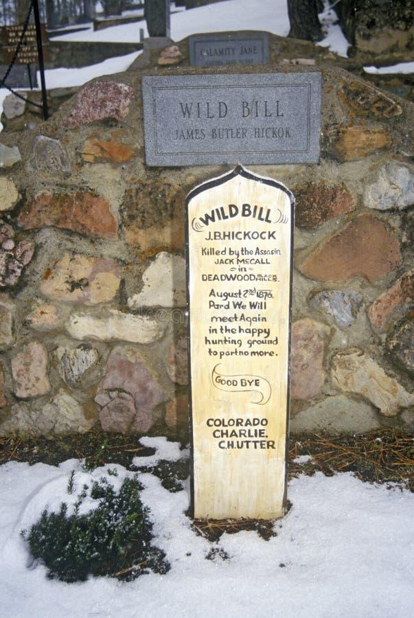 Allvarlig plats av lösa Bill Hickock, ökänd fredlös i den monteringsMoriah kyrkogården, Deadwood, SD i vintersnö arkivfoto