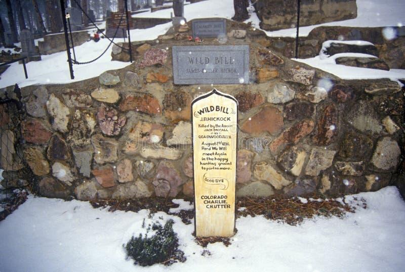 Allvarlig plats av lösa Bill Hickock, ökänd fredlös i den monteringsMoriah kyrkogården, Deadwood, SD i vintersnö arkivfoton