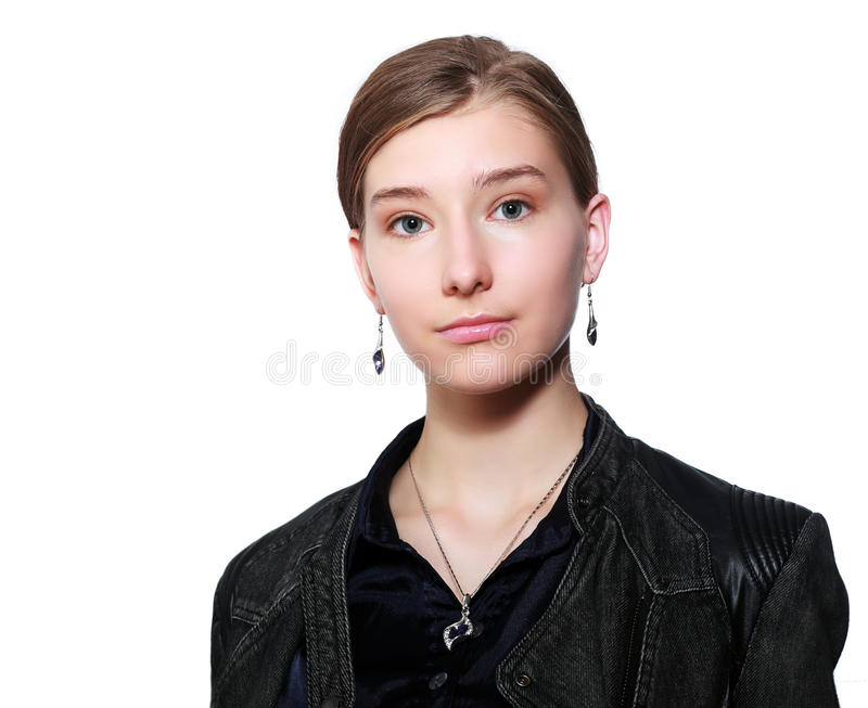 Allvarlig tonårs- flicka royaltyfri fotografi