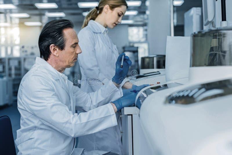 Allvarliga smarta forskare som tillsammans gör en forskning arkivbild