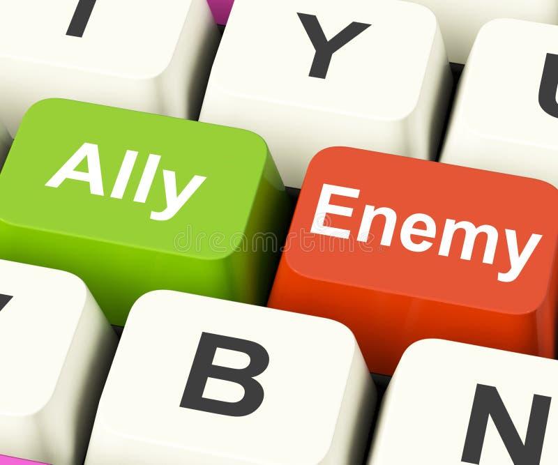 Ally Enemy Keys Mean Partnership ed opposizione illustrazione di stock