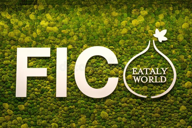Almíscares italianos do musgo do verde do logotipo da despensa do mundo de Fico Eataly no fundo imagem de stock royalty free