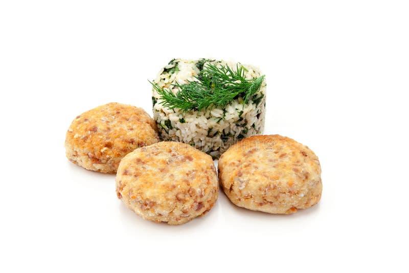 Almôndegas com arroz imagem de stock royalty free