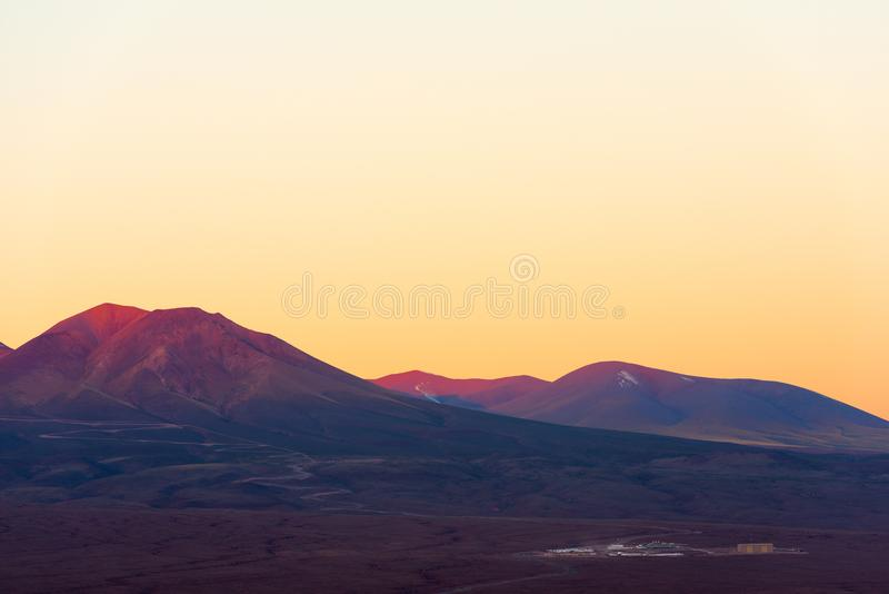 ALMA, atacama large millimeter array, base Camp seen from the distance in the altiplano. Atacama Desert, Chile royalty free stock images