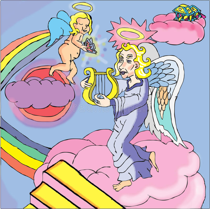 Alma de la toma de los ángeles al cielo libre illustration