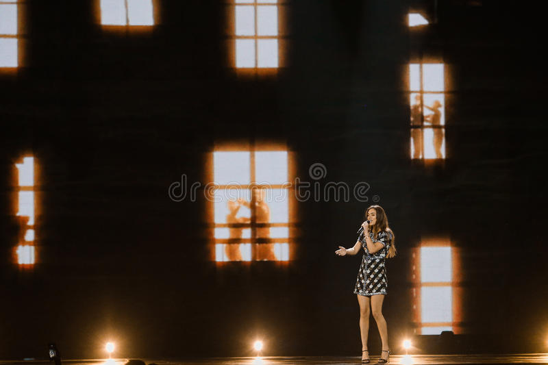 Alma from France Eurovision 2017. KYIV, UKRAINE - MAY 12, 2017: Alma from France at the Grand Final rehearsal during Eurovision Song Contest, in Kyiv, Ukraine stock photo