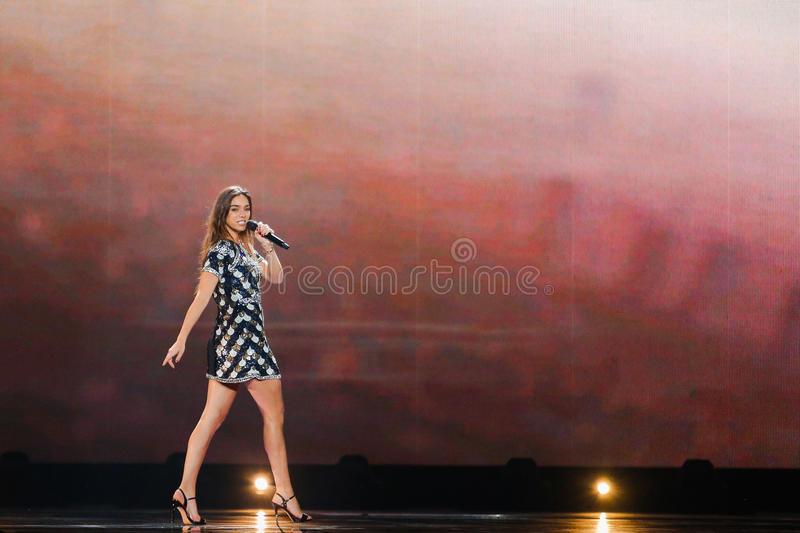 Alma from France Eurovision 2017. KYIV, UKRAINE - MAY 12, 2017: Alma from France at the Grand Final rehearsal during Eurovision Song Contest, in Kyiv, Ukraine stock images