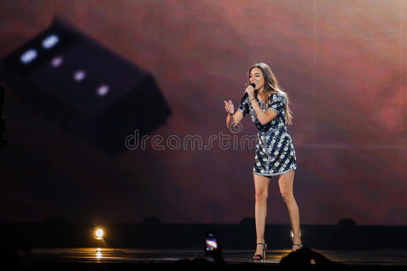 Alma from France Eurovision 2017. KYIV, UKRAINE - MAY 12, 2017: Alma from France at the Grand Final rehearsal during Eurovision Song Contest, in Kyiv, Ukraine stock image