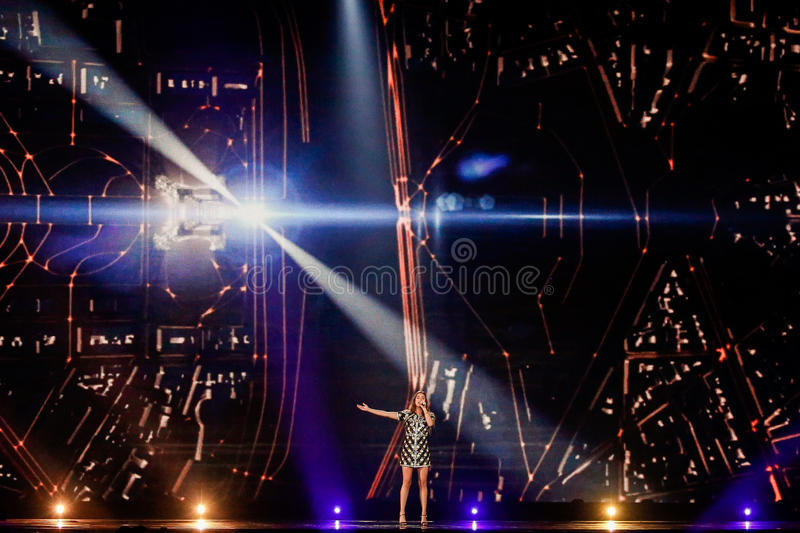 Alma from France Eurovision 2017. KYIV, UKRAINE - MAY 12, 2017: Alma from France at the Grand Final rehearsal during Eurovision Song Contest, in Kyiv, Ukraine royalty free stock photography