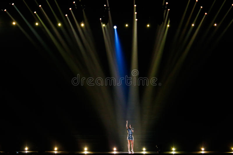 Alma from France Eurovision 2017. KYIV, UKRAINE - MAY 12, 2017: Alma from France at the Grand Final rehearsal during Eurovision Song Contest, in Kyiv, Ukraine royalty free stock photos