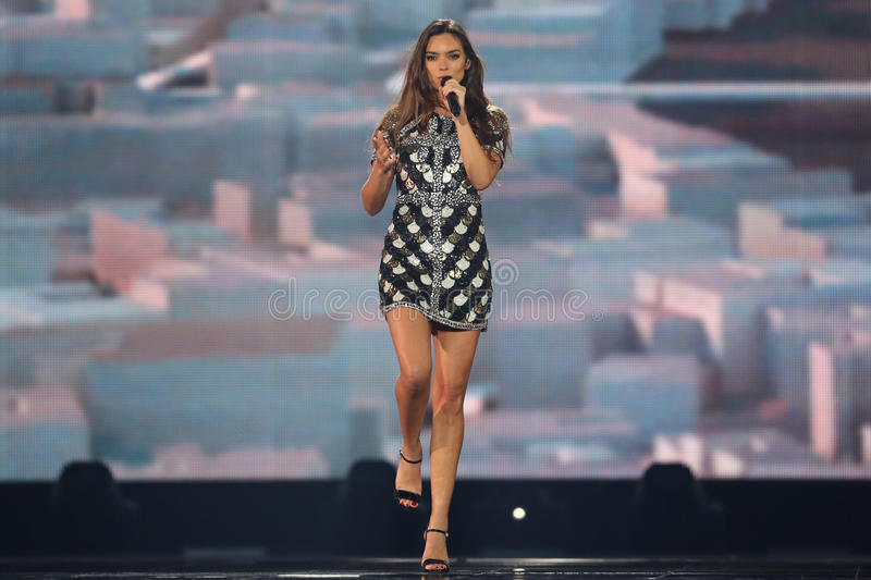 Alma from France Eurovision 2017. KYIV, UKRAINE - MAY 10, 2017: Alma from France at the second semi-final rehearsal during Eurovision Song Contest, in Kyiv royalty free stock images