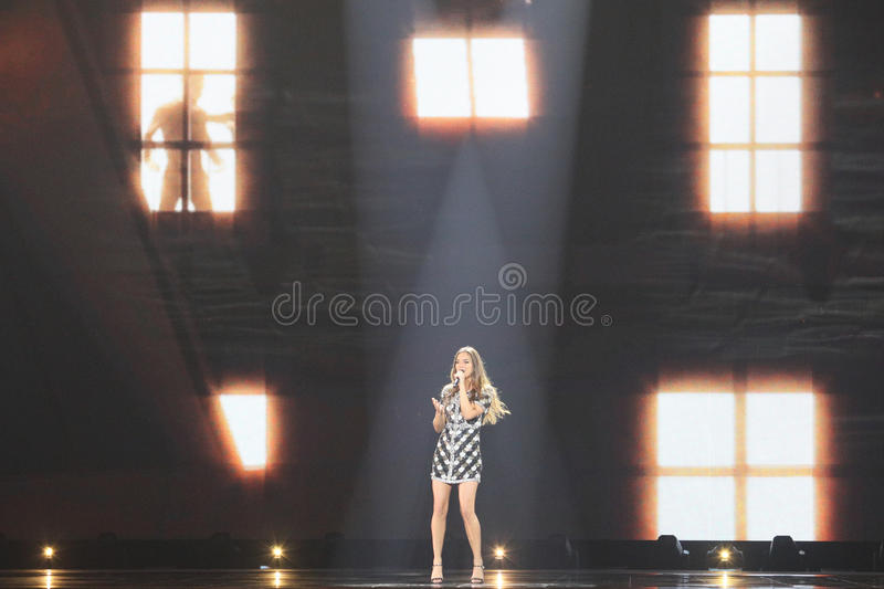 Alma from France Eurovision 2017. KYIV, UKRAINE - MAY 10, 2017: Alma from France at the second semi-final rehearsal during Eurovision Song Contest, in Kyiv royalty free stock photos