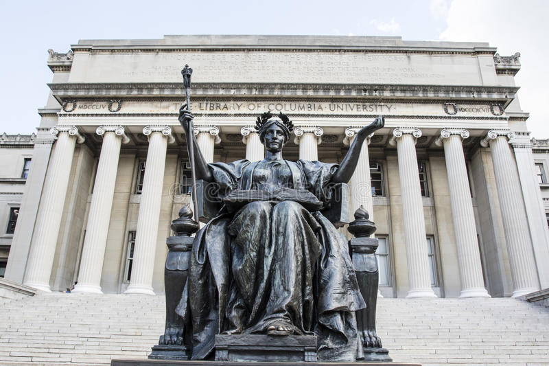Alma Mater statue in front of the library of Columbia University in Upper Manhattan, New York City. USA royalty free stock photo