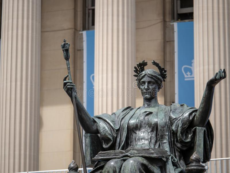 Alma Mater statue outside of Columbia University library royalty free stock images