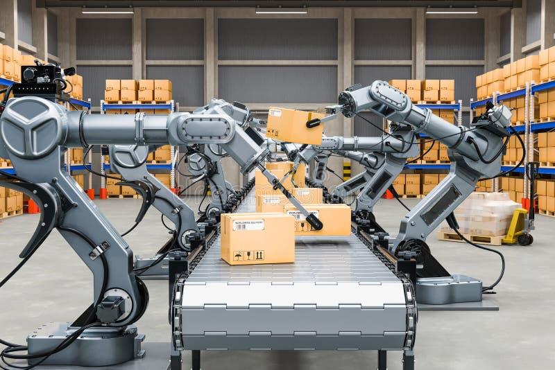 Almacén automático con los brazos robóticos, representación 3D ilustración del vector