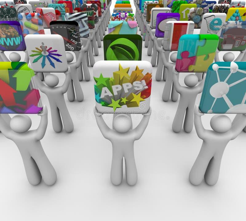 Almacén del software de la venta de Apps de los reveladores del App actual ilustración del vector