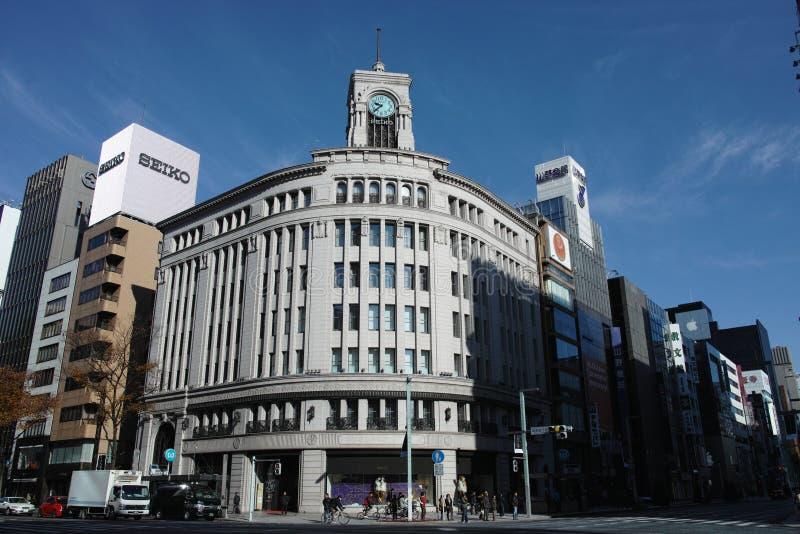 Almacén grande de Wako en Ginza, Tokio, Japón foto de archivo