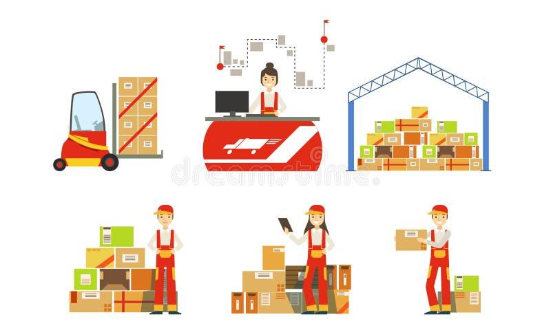 Almacén, Logística y Distribución, Edificio de Almacén, Elevador de Horquilla, Estantes con Mercancías, Vector de Trabajadore stock de ilustración