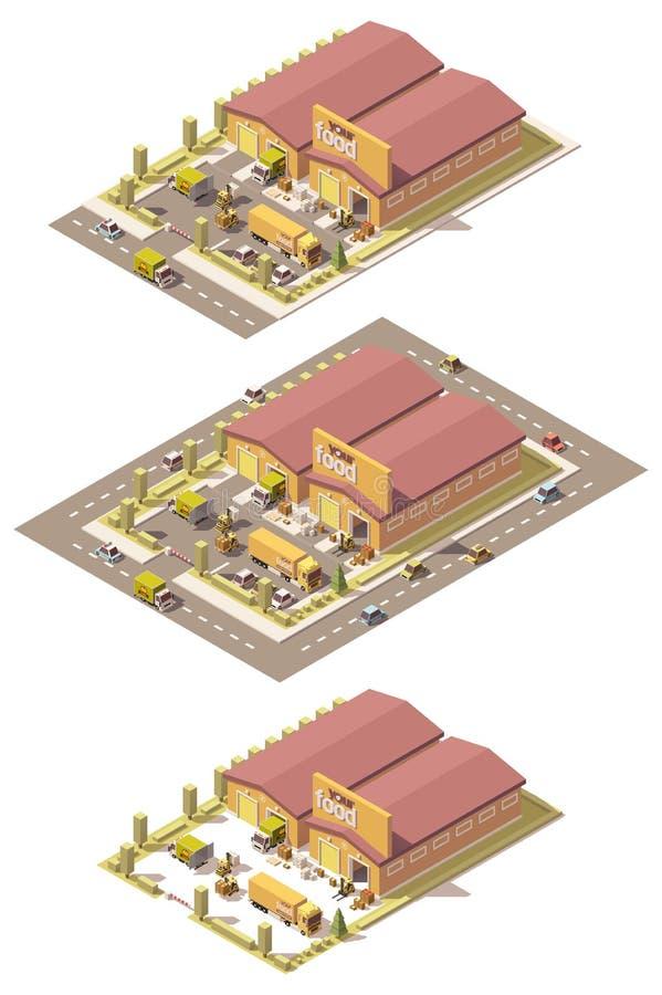 Almacén polivinílico bajo isométrico de la producción del vector libre illustration