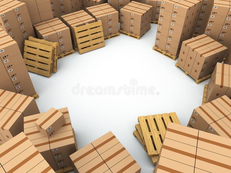 Almacenamiento. Cajas de cartón en la plataforma ilustración del vector