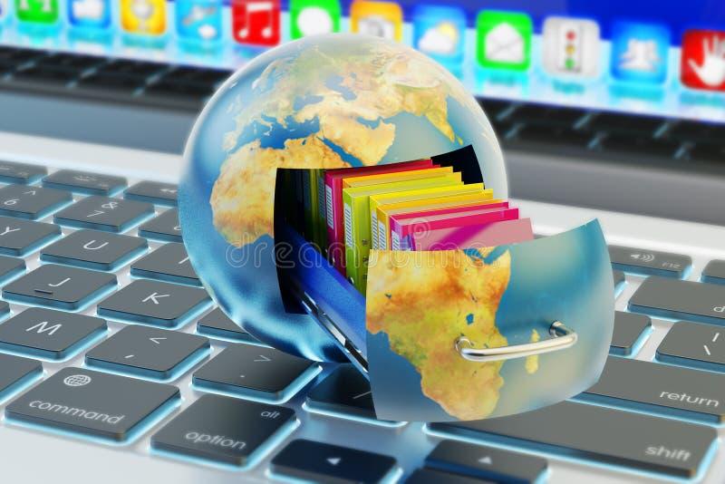 Almacenamiento de datos global, servicio de la nube y concepto computacionales de la tecnología de red libre illustration