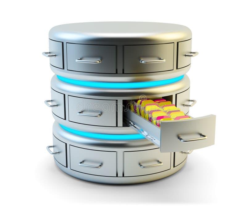 Almacenamiento de datos remotos, servicio de la nube y concepto computacionales de la tecnología del servidor de red ilustración del vector