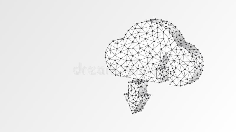 Almacenamiento de la nube Acceso, datos, concepto del servidor de Internet Muestra computacional poligonal r ilustración del vector