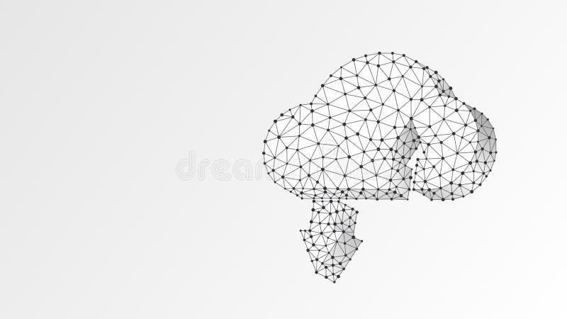 Almacenamiento de la nube Acceso, datos, concepto del servidor de Internet Muestra computacional poligonal r stock de ilustración