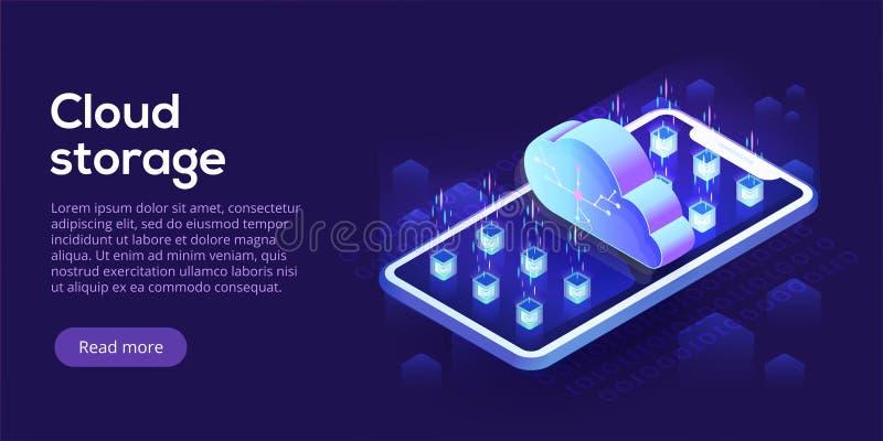 Almacenamiento de la nube con el ejemplo isométrico del vector del teléfono móvil mobi stock de ilustración