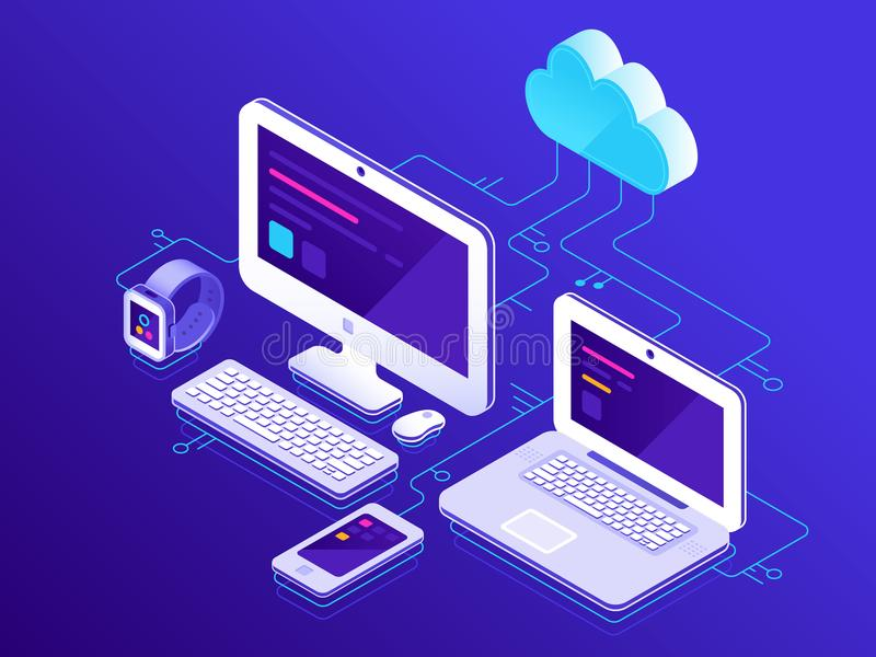 Almacenamiento de la nube Dispositivos del ordenador conectados con el servidor de datos Los ordenadores portátiles hacen tableta ilustración del vector
