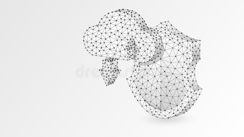 Almacenamiento de la nube en el escudo de la seguridad, ejemplo blanco de la papiroflexia 3d del vector del extracto Acceso polig libre illustration