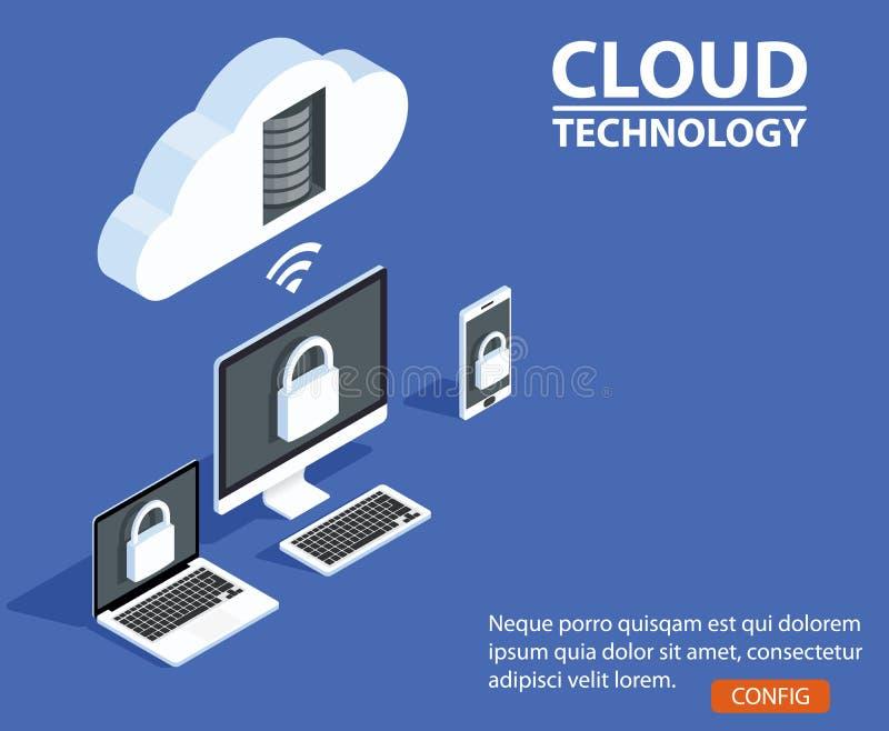 Almacenamiento de la nube de los conceptos Jefe para el sitio web con el ordenador, ordenador portátil, smartphone en fondo azul libre illustration