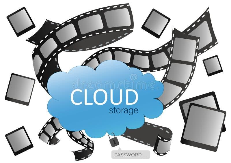 Almacenamiento de la nube para el diseño, página web, fondo, bandera Salvo su foto y vídeo en el servidor en Internet stock de ilustración