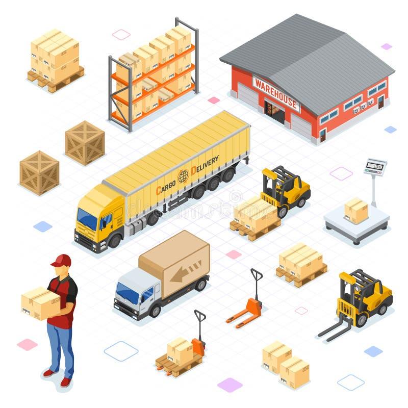 Almacenamiento de Warehouse e iconos isométricos de la entrega fijados stock de ilustración
