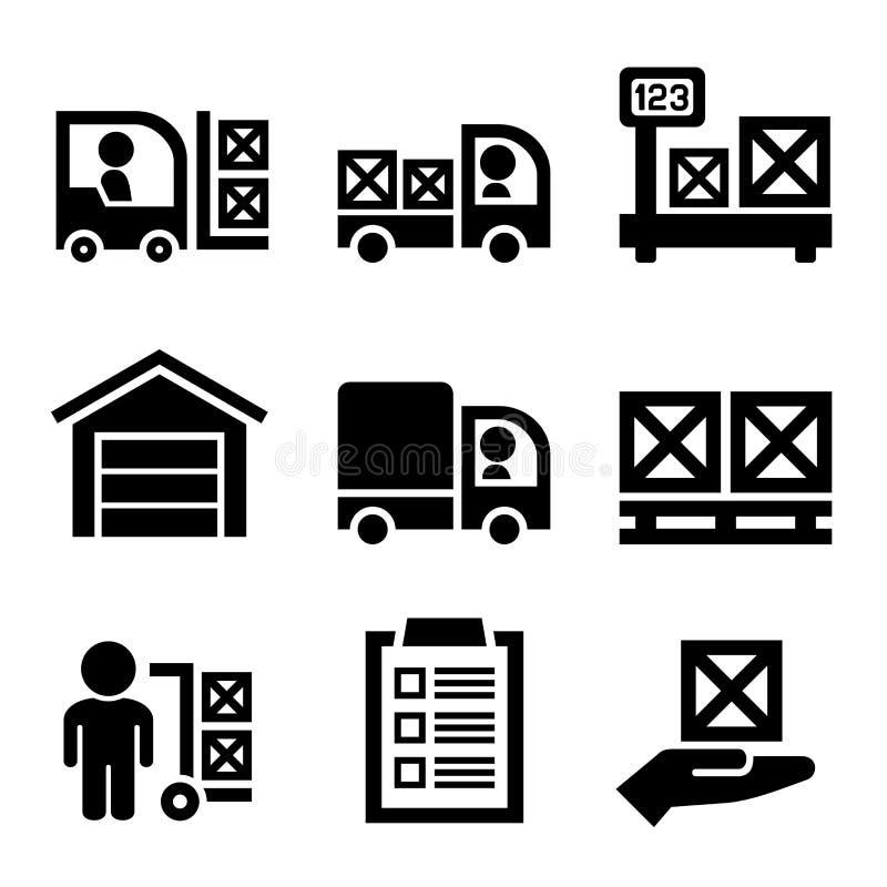 Almacenamiento de Warehouse e iconos logísticos fijados Vector stock de ilustración