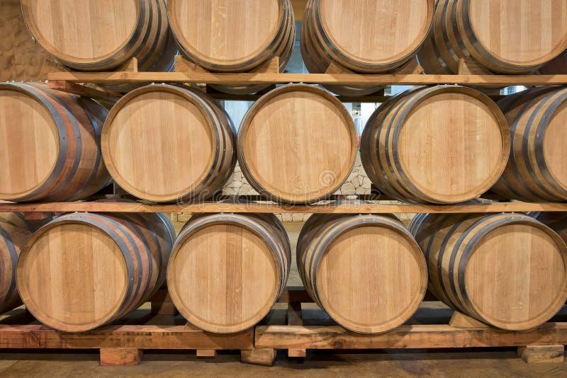 Almacenamiento del vino, barriles del roble, México fotografía de archivo