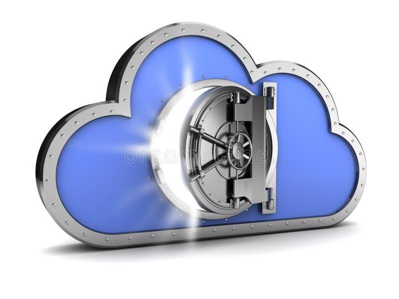 Almacenamiento protegido de la nube ilustración del vector