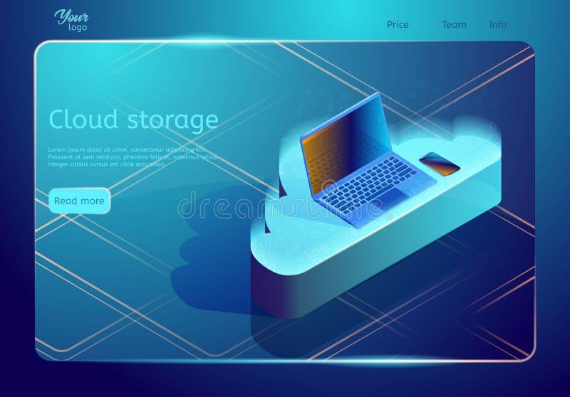 Almacenamiento y copia de seguridad isométricos de datos de la nube Plantilla de la página web del vector Ejemplo que muestra con ilustración del vector
